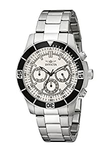 Invicta Specialty Unisex Quartz Watch with Silver Dial  Chronograph display on Silver Stainless Steel Bracelet 12841