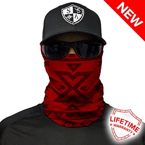 Red Aztec Design. SA Company Face Shield / Loop Scarf / Bandana / Balaclava. Fishing Face Shields. Multi-Functional Headwear / Scarf. SPF 40. Outdoor Activity Face Mask (Fishing, Running, Cycling, Motorbike, Walking, Riding etc)