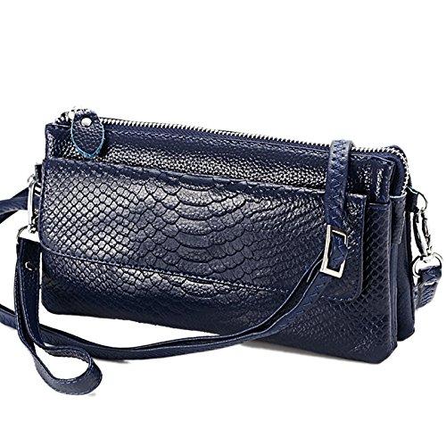 Mefly Mode Damen Tragetaschen Leder Kreuz Schicht Kleine Pakete Deep blue