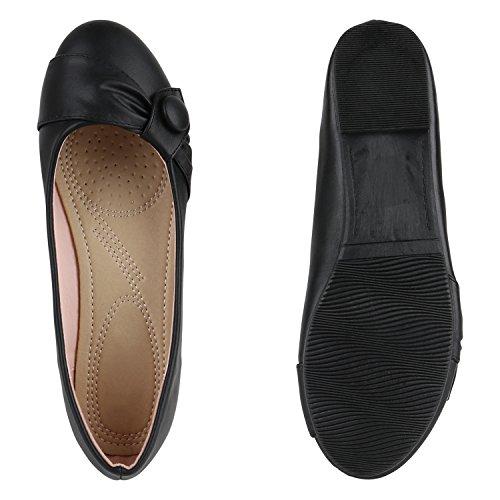 Klassische Damen Ballerinas Leder-Optik Flats Schuhe Übergrößen Flache Slipper Spitze Prints Strass Flandell Schwarz Knopf