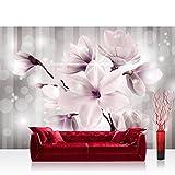 Fototapete 368x254 cm PREMIUM Wand Foto Tapete Wand Bild Papiertapete - Blumen Tapete Magnolia Blume Pflanze Illustration rosa - no. 1770