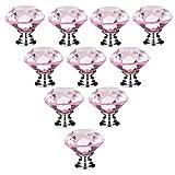 10 PCS 30mm Rosa Flache runde Kristallglas Türknauf /MöbelKnopf /Möbelgriffe für Küche Schränke, Kleiderschrank, Kommode, Schublade,Schranktür Schlafzimmer und Badezimmer etc. Vintage DIY Home Deko