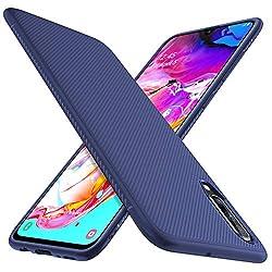 iBetter für Samsung Galaxy A70 Hülle, Ultra Thin Tasche Cover Silikon Handyhülle Stoßfest Case Schutzhülle Shock Absorption Backcover Hüllen passt für Samsung Galaxy A70 Smartphone(Blau)