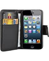 TRIXES Black Leather Executive Wallet Flip Case Cover Card Pouch for Apple iPhone 4 4S Credit Card Holder