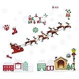 BESTOYARD Rentiere und Weihnachtsmann Wandaufkleber Weihnachten Abnehmbare Fensteraufkleber Fensterdeko Weihnachtsdeko