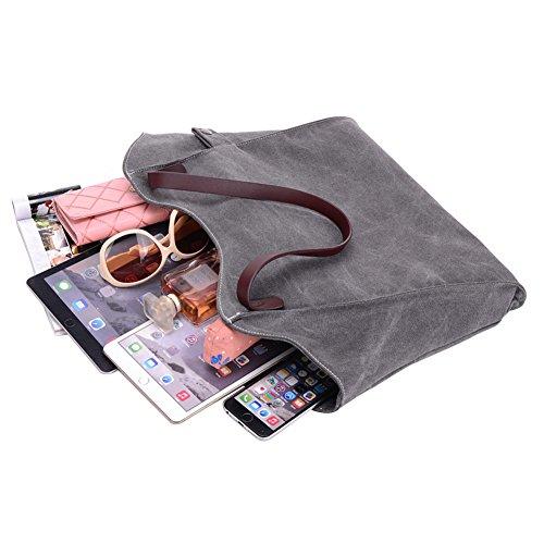 c204914a1aeba ... PB-SOAR Damen Canvas Shopper Schultertasche Tasche Handtasche  Beuteltasche (Weiß) Grau