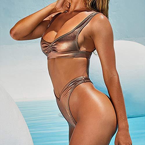 Bikini-Sets Damen, Geteilter Badeanzug Frauen Einfarbiges Gefaltet Schwimmanzug High Waist Slip Badeanzüge Bademode Strandmode Swimsuit Swimwear Bekleidung (Gold, L) - 3