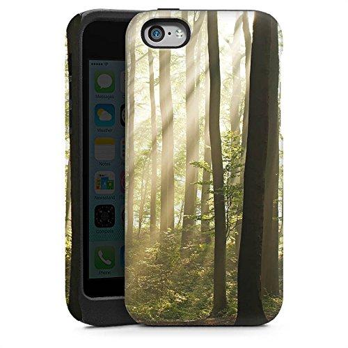 Apple iPhone 5s Housse Étui Protection Coque Forêt Clairière Rayons de soleil Cas Tough brillant