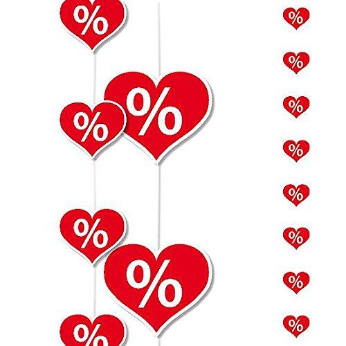 DekoWoerner Kette Prozent-Herzen 200cm rot