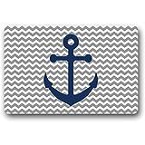 LoBie Grau-Chevron-Muster mit blauem Anker Kunstdruck Fußmatten Eingang Matte Matte Tür Matte Teppich Indoor / Outdoor / Frontteppich Matte Willkommen Fußmatte 45 x 75 cm
