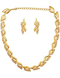 KAAYRA Latest Design, Diamond & Gold Plated Necklace Set / Jewellery Set With Earrings For Women/Girls