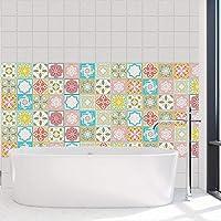 Walplus Tiles Wall Stickers 24 Pieces, Multicolour, 10 x 10 x 0.02 cm