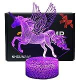 NHSUNRAY Licorne Nuit Lumière 3D Licorne Illusion Lampe 7 Couleurs Changer Décor...