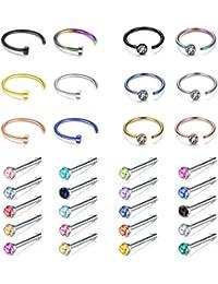 Piercing Nez Anneaux, 6-32 Pièces Hoop Piercing Nez Zircon Bijoux Corps,18G Strass Stud Tragus Faux Acier Chirurgical Piercing Lèvre Langue, 3 styles