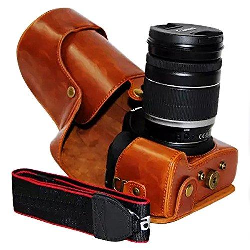 nzkörper- präzise Passform PU-Leder Kameratasche Fall Tasche Cover fürCanon 700D 650D 600D Rebel T5i T4i T3i 18-55mm 18-135mm 18-200mm Lens ()