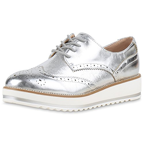Damen Halbschuhe Dandy Style Brogues Profilsohle High Fashion Silber