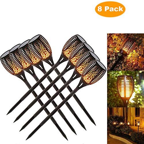 solaire de jardin en feu Torches 96 LED jusqu'à Dawn automatique un/(Capteur de lumière), Spotlight lampe de jardin lumière éclairage de jardin solaire Spotlight extérieur warmlicht étanche (8 pack)