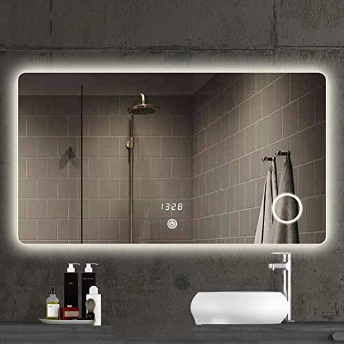 QZ LED Rectangular Espejo de baño con luz, Anti-vaho sin Marco montado en la Pared de Espejo, 3 aumentos...