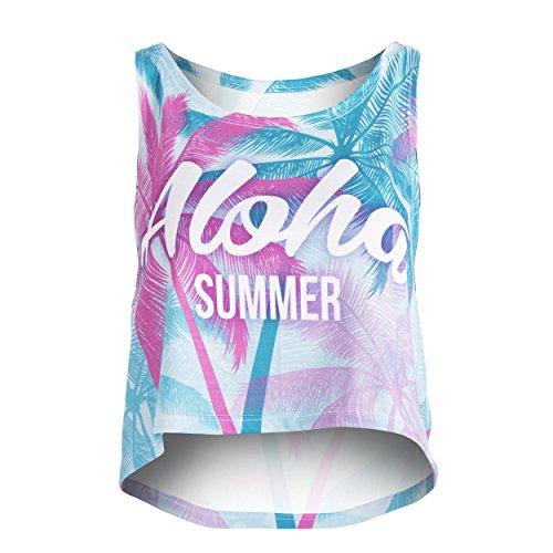 Fringoo-Camiseta-sin-mangas-Top-corto-para-mujer-multicolor-Summer-Aloha-36-38