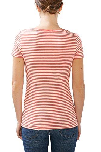 ESPRIT Damen T-Shirt 126ee1k006 Mehrfarbig (Coral 4 648)