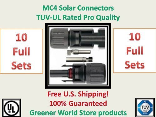 Greener WORLD Store MC4 cable connectors in a 10 pack., Solar power cable connectors MC4 type in 10 pack., Solar powered energy cable connector MC4., High quality professional grade connectors., Shipped Fast from Utah Company! Visit our store for oth...