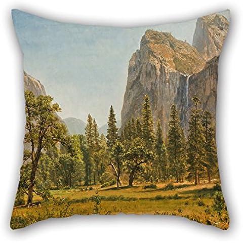 beautifulseason pintura al óleo Albert Bierstadt–Bridal Veil Falls, Yosemite Valley, California pillowcover 16x 16