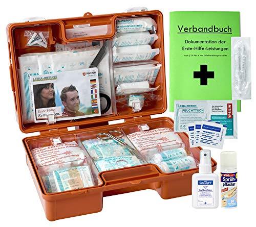 Erste-Hilfe-Koffer M4+ für Betriebe DIN/EN 13157 inkl. Hände-Antisept-Spray, Sprühpflaster & Verbandbuch