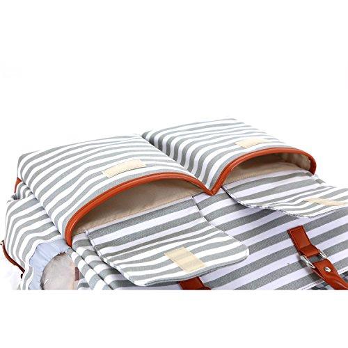 Damero Wickeltasche, Baby-Windel-Umhängetasche Windel-Tote für Mama - mit wechselnder Auflage sehr größ und praktisch, perfekt für Reise-, Arbeits- und Alltagsausflüge,Graue Streifen Graue Streifen