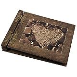 Herz in Stein Motiv sepia gehalten Fotoalben mit 100 Seiten aus Edelholz Valentinmotiv