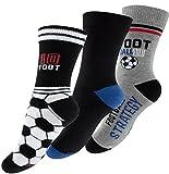 "6 Paar Jungen Socken ""Fußball"", Baumwoll Kindersocken mit Motiv , Mehrfarbig - 23-26"