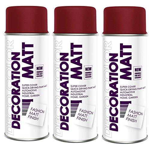 Preisvergleich Produktbild 3er Sparpack DC Lackspray matt 400ml nach RAL freie Farbauswahl (3 Dosen in weinrot MATT RAL 3005)