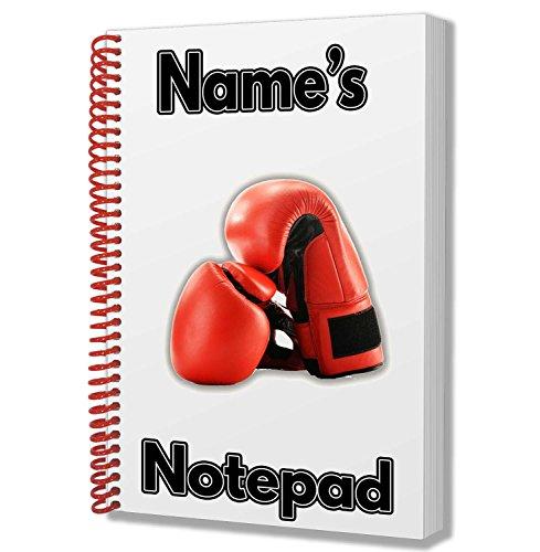 Boxhandschuhe Personalisiertes Geschenk–A5Notizblock/Notizbuch, Zeichnungen Doodles Tagebuch Notizen
