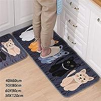 Bath Rugs lansiZD, Floor Mat Animal Cat Printed Bathroom Kitchen Carpet Doormat Room Anti-Slip Rug - Grey 60x90cm