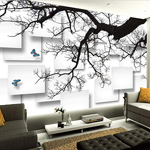 Att-tv (Fototapete Schwarz Äste 3D att Eis Wandbild Wohnzimmer Sofa TV Hintergrund Dekor Tapete Malerei-260cmx200cm)