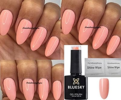 Bluesky KA1467 Coral Woo Light Peach Nail Gel Polish UV LED Soak Off 10ml PLUS 2 Homebeautyforyou Shine Wipes