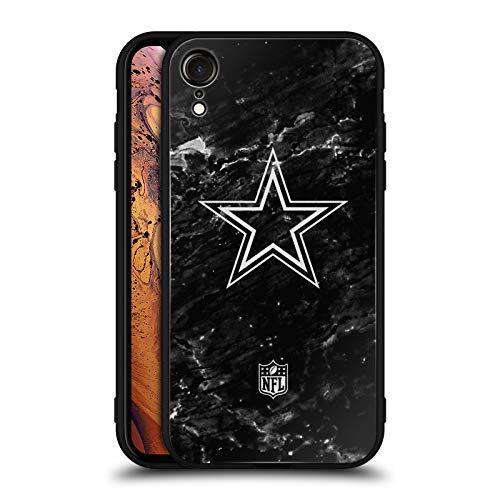 Head Case Designs Offizielle NFL Marmor 2017/18 Dallas Cowboys Logo Schwarz Rückseiten Hülle aus Hybrid Glass für iPhone XR