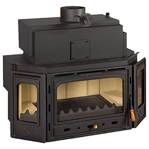 Wood burning fireplace insert Prity, Model TC W28, Heat output 33kW, Boiler, Cast iron door, Panoramic