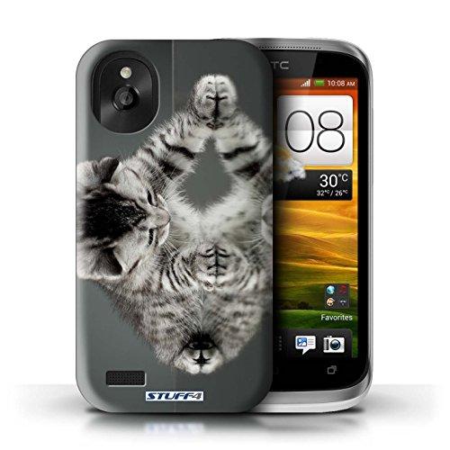 Kobalt® Imprimé Etui / Coque pour HTC Desire X / Blanc et moelleux conception / Série Chatons mignons Miroir