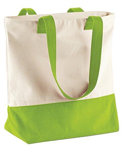 Bagbase Westcove Tela Borsa donna elegante cotone lavoro da viaggio spalla borsa Natural/ Apple Green