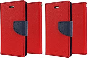 Generic 2 Mercury Diary Flip Cover Combo for Samsung Galaxy mega 6.3 i9200 (Red) With (Red)