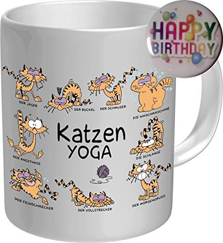 2610 Geburtstag Geschenke-Set Katze: KATZEN YOGA. Premium Geschenk Fischen FischTasse Keramik, Original RAHMENLOS® in Geschenkbox + Button Happy Birthday