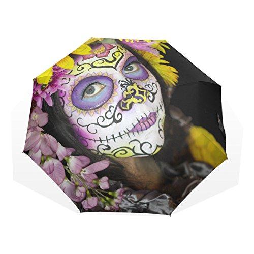 GUKENQ - Paraguas de Viaje Ligero con diseño de Calavera de azúcar para niñas, Paraguas de Lluvia para Hombres, Mujeres y niños, Resistente al Viento, Plegable y Compacto