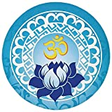 Round Rug Mat Carpet,Chakra Decor,Eastern Spiritual Design with Lotus Flower Petal Mystical Powers of Nature Print,Light Blue,Flannel Microfiber Non-slip Soft Absorbent,for Kitchen Floor Bathroom