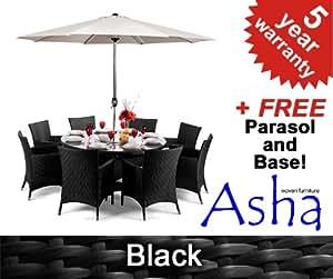 Salon de Jardin 8 Places en Résine Tressée Henley Noir avec Parasol - Asha™