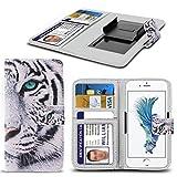 (White Tiger 142,7 x 70.5mm) PRINTED DESIGN Tasche Hülle für UMIDIGI G Kastenabdeckung Beutel Qualitäts-Thin-Leder-Buch-Art-Beutel Holdit Federklammer Clip auf Adjustable Buch von i-Tronixs