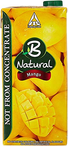 B Natural Mango Juice 1L, (Pack of 2)