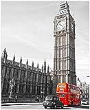 Wallario Magnet für Kühlschrank/Geschirrspüler, magnetisch haftende Folie - 65 x 80 cm, Motiv: London Red Bus