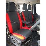 Para adaptarse a un Renault Trafic 2016Van, fundas de asiento, antracita II/rojo refuerzos (1individual + 1doble)