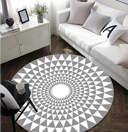 Tapis rond noir et blanc, tapis simple et mode, adapté pour chambre / bureau / salon, antidérapant (160cm, white)