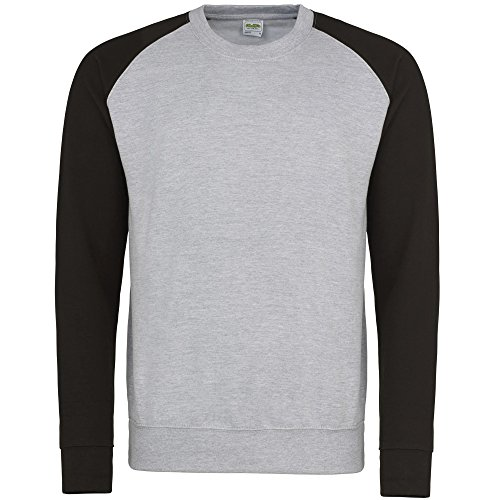 Awdis Herren Baseball Sweatshirt, zweifarbig (Medium) (Grau meliert/Schwarz) Baseball-sweatshirt